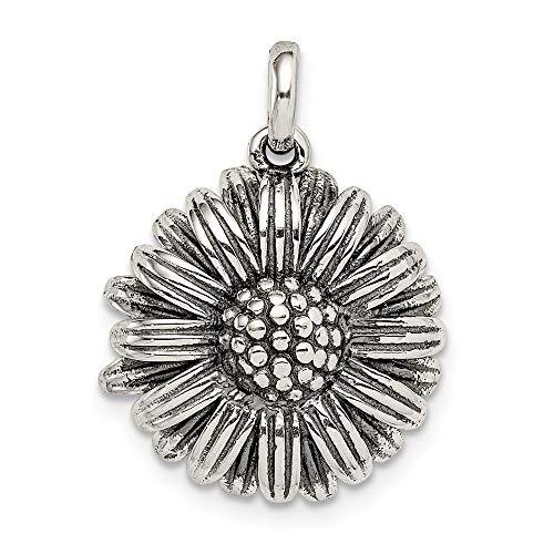 Sterling Silver Antiqued Sunflower Pendant