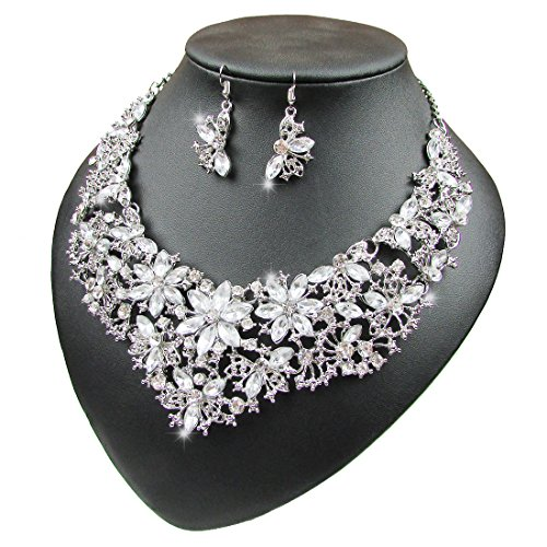 Women Alloy and Crystal Butterfly Necklace and Earring Set Color (Silver)