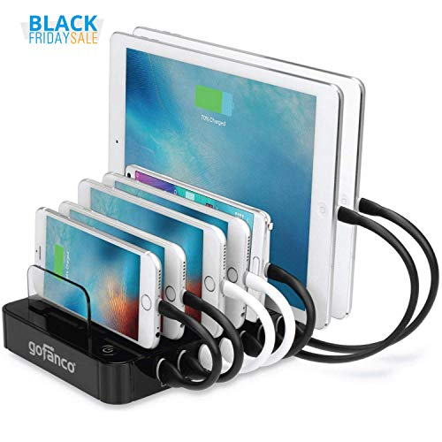 gofanco 65W 7-Port USB Charging Station Organizer (Black) simultaneously charges phones, tablets and wearable devices - iPhone, iPad, Samsung Galaxy, LG, Nexus, HTC and others