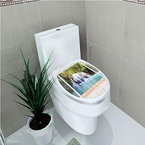 Toilet Custom Sticker,Nature,Scenery of Waterfall with Wooden Deck Architecture Landscape Forest Modern Design,Multicolor,Diversified Design,W11.8