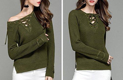 QIYUN.Z Las Mujeres Forman El Suéter Con Cuello De Pico Del Cuello Del V-Cuello Hizo Punto Los Suéteres De Las Tapas Verde Oscuro