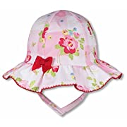 Keepersheep Baby Girl Summer Topee Hat (0-3 Months, Pink Print)