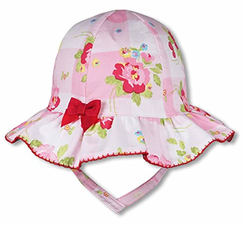 Keepersheep Baby Girl Summer Topee Hat (6-12 Months, Pink Print) (Shelter Cloth Cap)