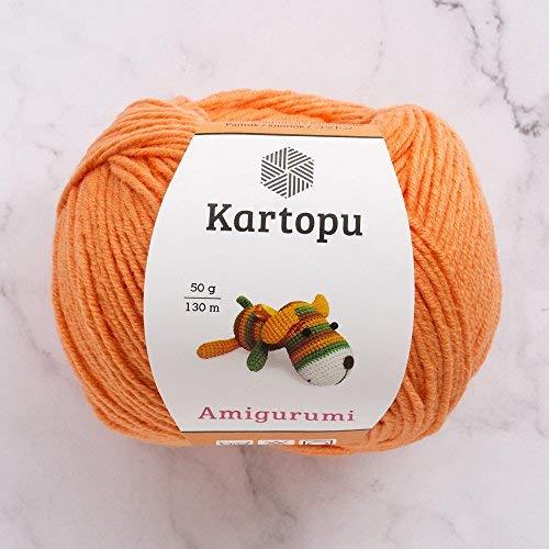 3 Ball Kartopu Amigurumi Total 5.28 Oz Each 1.76 Oz (50g) / 142 Yrds (130m), 49% Cotton, Super Soft, Dk Light Baby Yarn, K1250-Orange ()