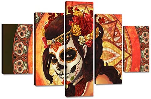 Best canvas wall art: HD Printed Day of the Dead Face Group Painting on Canvas All Saints Day Halloween Pictures Extra Large Wall Art