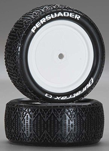 4wd Tires Wheels (Duratrax Persuader 1:10 Scale RC 4WD Buggy Tires with Foam Inserts, C3 Super Soft Compound, Mounted on Front White Wheels, Fits the Team Associated B44 (Set of 2))