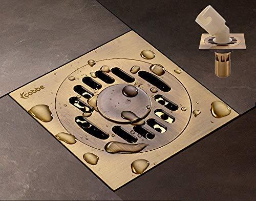 H-Y-HOME Bodenablauf Waschmaschöne Voll Kupfer Geruchssicher Bodenablauf Badezimmer Badezimmer Küche Balkon Insektenschutz Bodenablauf, Bronzefarbe, Tiefe Wasserdichtung