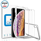 Marge Plus Compatible with iPhone Xs Max Screen Protector, (3 Packs +1 Clear Case) 0.25mm Tempered Glass Screen Protector Anti-Scratch Case Friendly 2.5 D Curved Edge 6.5 Inch with 99% Touch Accurate