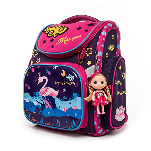Cocomilo Folding School Backpack Little Princess Orthopedic Bookbag for Girls