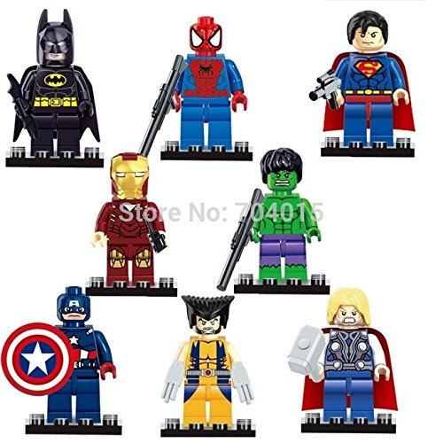 Super heroes The Avengers Figures Superman Batman Iron Man Hulk Wolverine Minifigures building blocks Compatible with lego toys (WITHOUT original (Penguin Man From Batman)