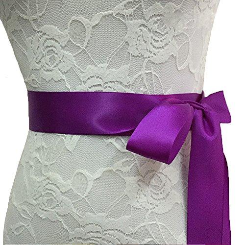 Big Girl's Wedding Dress Bridal Accessories Plus Size Long Beaded Belt Sash for Bride,Purple (Silk Belt Beaded)