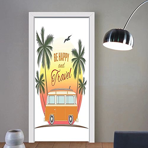 Gzhihine custom made 3d door stickers Surf Decor Retro Surf Van With Palms Camping Relax Hippie Travel Be Happy Free Sixties Theme Decor Orange Green Yellow For Room Decor 30x79 by Gzhihine