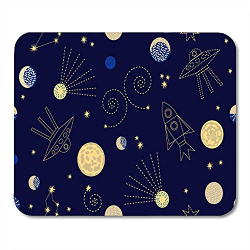 Gaming Mouse Pad Night Zodiac Sky with Constellations Crescent Moon Rockets Sputniks and Stars 1950S 7.18.7 Inches Decor Office Computer Accessories Nonslip Rubber Backing Mousepad Mouse Mat