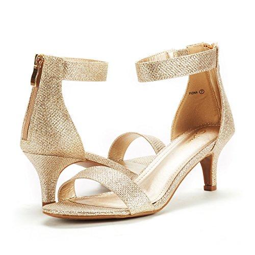 Paio Di Scarpe Da Donna Fiona Stilettos Open Toe Pompa Sandali Con Tacco Glitter Oro