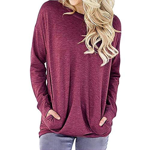 (Clearance Sale ! Women Casual Long Sleeve Cotton Solid Loose Pockets T-Shirt Blouses Tops ❤️)