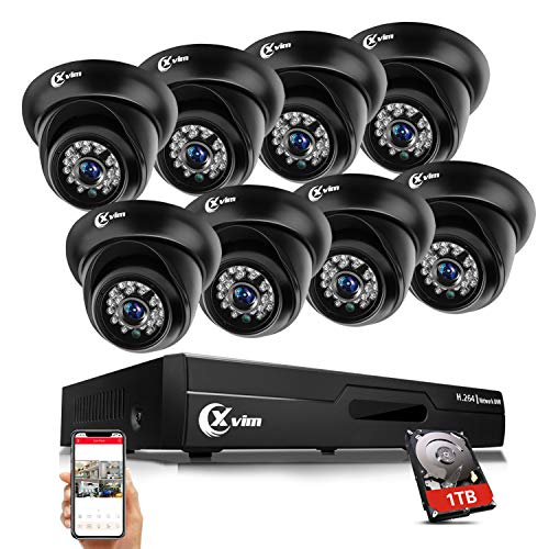 XVIM 8CH 8-in-1 720P DVR Security Camera System with 1TB Hard Drive,8pcs Outdoor Surveillance Cameras Easy Remote on Phone