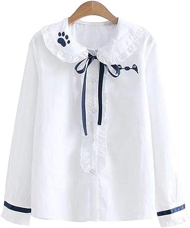 YUFAA Camisas Blusas volantes de las mujeres Camisa blanca Tops Mangas largas volantes de otoño-invierno Cintas del cuello con collares Cat bordado bosque niñas lindo oficina viajeros de la escuela co: Amazon.es: