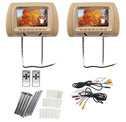 """Pair Rockville RHP7-BG 7"""" Beige TFT-LCD Car Headrest TV Monitors - Monitor For Holder Car"""