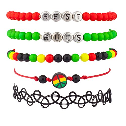 Lux Accessories Best Buds Weed Marijuana 420 Pot Rasta Peace Love Unity Arm Candy Bracelet Set (Best Buds Weed Tattoo)