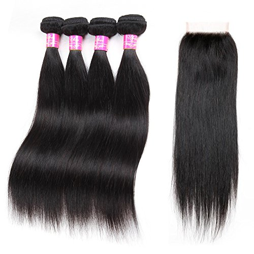 Brazilian Straight Hair With Closure 4 Bundles Unprocessed Virgin Human Hair Bundles With Lace Closure Free Part Hair Extensions Natural Color (20 22 24 26+20''closure) by ULOVE HAIR