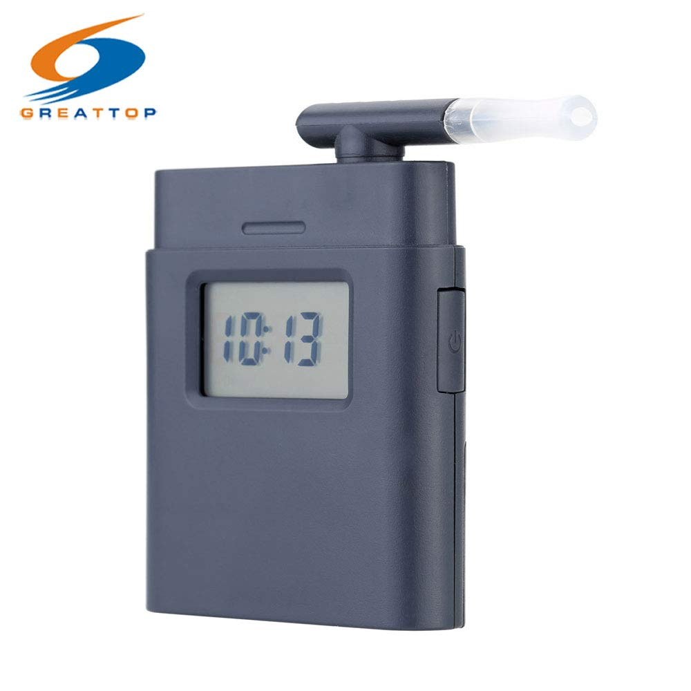 AoforzBrand Factory Professional Mouthpiece Breath Alcohol Tester with Time Display Mini Pocket Breathalyzer Alkohol