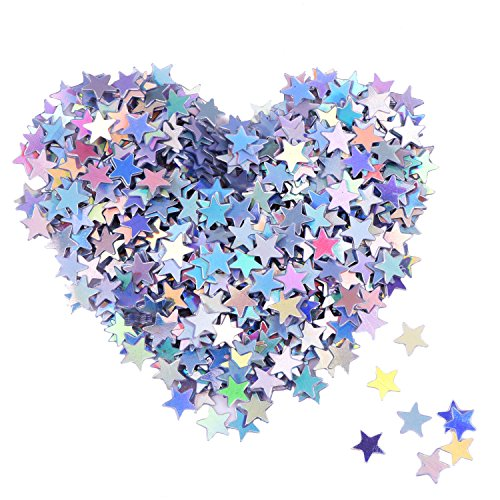 eBoot Star Confetti Holographic Stars Glitter Confetti for Christmas Decoration, Wedding Party Supplies and Nail Art, Multicolor, 1/ 4 Inch (Confetti Shapes)