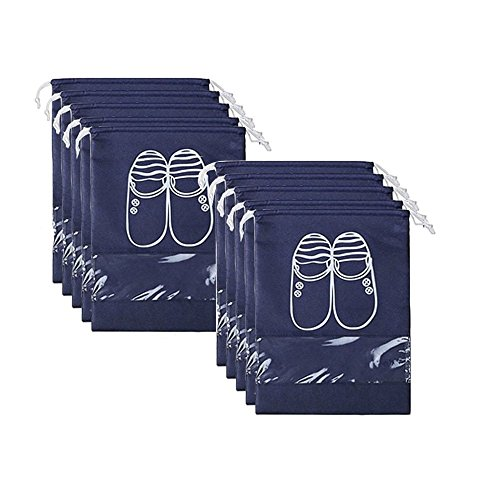 Superhappy 10pcs Travel Shoe Bags Dust-proof Shoe Organizer Bags with Drawstring (10PCS (XL))