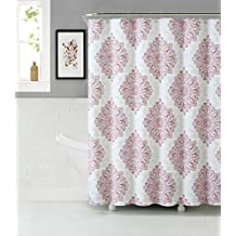 Tranquility Cotton Rich Fabric Shower Curtain with Medallion Design (Blush-White-Beige)