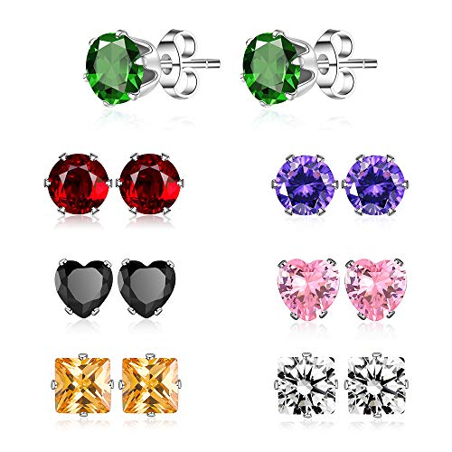 (XZP Week Use Colored Earrings Women Stainless Steel Zirconia Stud Earrings Set Piercing 7 Pairs 6mm)