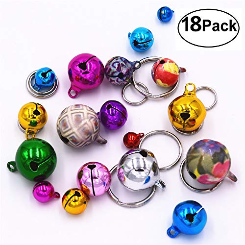 18Pcs Pet Cat Collar Bells, Dog Collar Bells for Kitty, Rabbits, Chinchilla, Guinea Pigs and Other Small Animals(Multicolor) (colorful)