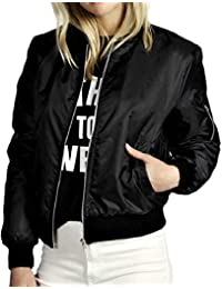 6eb61c3a692 Women Bomber Jacket Classic Zip up Biker Vintage Short Jacket