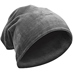 komene Super Soft Warm Flannel Slouchy Hat Unisex Trendy Winter Autumn Spring Beanies Caroset Cap for Men and Women (Grey)