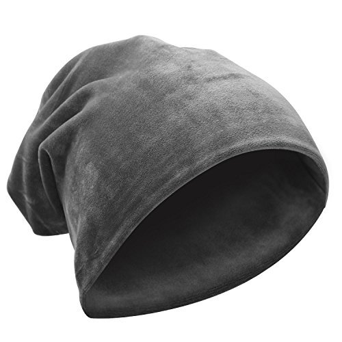 komene Super Soft Warm Flannel Slouchy Hat Unisex Trendy Winter Autumn Spring Beanies Caroset Cap for Men and Women (Grey)