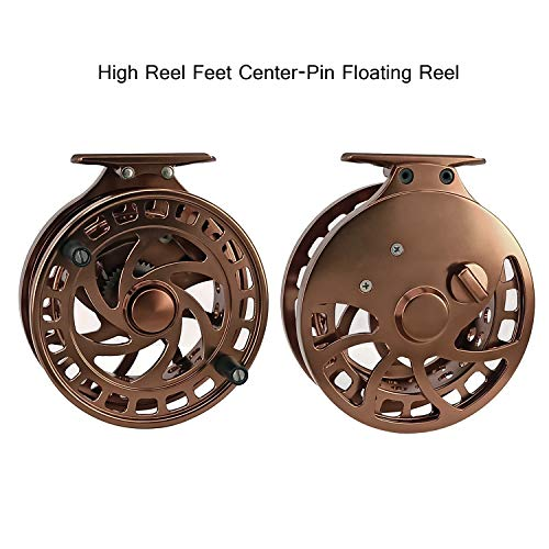 Aventik Z 2nd Generation High Reel Feet Center-Pin Floating Reel CNC machined Easy Line Through (Coffee) For Sale