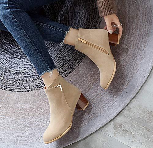 Abricot Bottines Low Boots Femme Rond Bout Basse Aisun Classique HwU18H