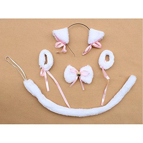 San Tokra Halloween Cosplay Costume Kids Plush Cat Headwear Bracelet Bow Tie Set (White) (White Cat Costume Child)