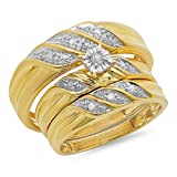 0.10 Carat (ctw) Yellow Gold Plated Sterling Silver Diamond Men's & Women's Engagement Trio Set 1/10 CT