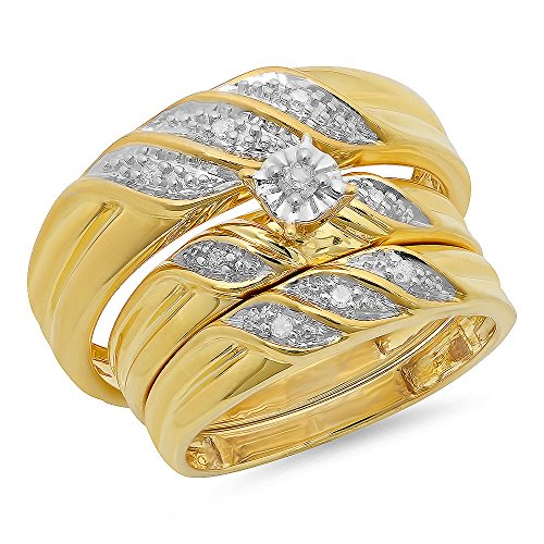 0.12 Carat (ctw) Yellow Gold Plated Sterling Silver Round Diamond Men's & Women's Wedding Trio Set by DazzlingRock Collection