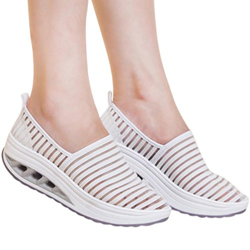 vermers Hot Sale Women Fitness Shoes Casual Sport Shoes Ladies Mesh Shake Shoes Platform Sneaker(US:6.5, White) ()