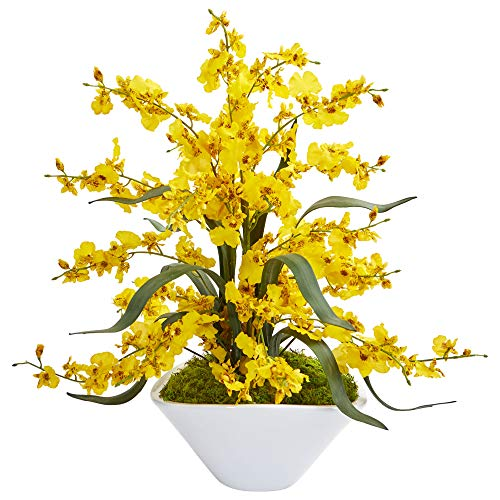 Nearly Natural 1736-YL Dancing Lady Orchid Artificial White Vase Silk Arrangements, Yellow