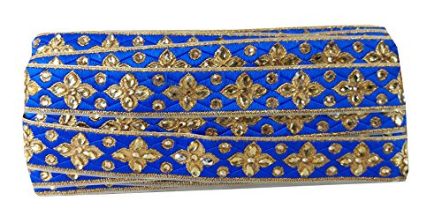 9 yard lace saree border applique Royal Blue Brocade fabric Gold Embroidery (Blue Fabric Borders)