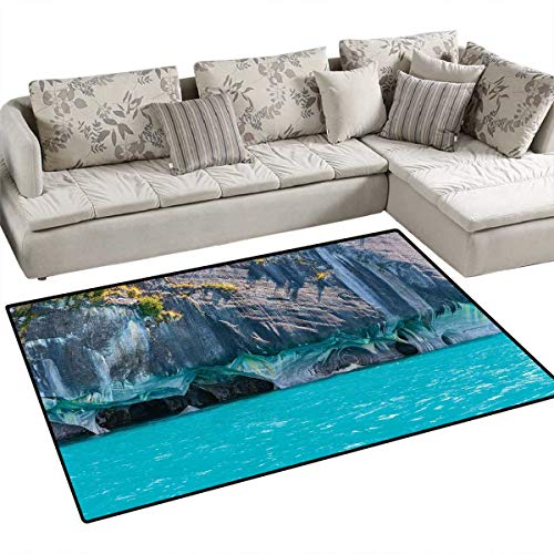 Turquoise Girls Bedroom Rug Marble Caves of Lake General Carrera Chile South American Natural Door Mat Indoors Bathroom Mats Non Slip 4'x6' Turquoise Purplegrey Green