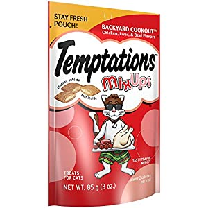 TEMPTATIONS MixUps Treats for Cats BACKYARD COOKOUT Flavor 3 Ounces (Pack of 12)