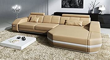 Sofa Couch Leder L Form Ecksofa Beige Weiss Designer Wohnlandschaft