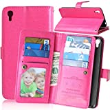 Alcatel OneTouch IDOL 3 Case, Ranyi [9 Card Slot Wallet Series] [Kickstand Feature] [Photo Slot] Dual Layer PU Leather Flip Folio Wallet Stand Case for Alcatel OneTouch IDOL 3 (5.5'), pink