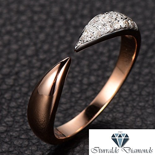 (14k Rose Gold Diamond Pave Iced Claw Wedding Band or Ring)