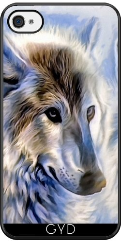 Coque Silicone pour Iphone 4/4S - Icewolf Loup Imaginaire by WonderfulDreamPicture