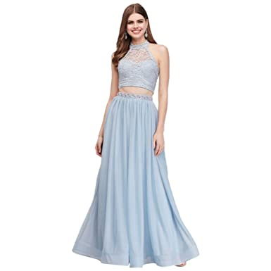 Davids Bridal Two Piece Beaded Jersey And Lace Halter Prom Dress