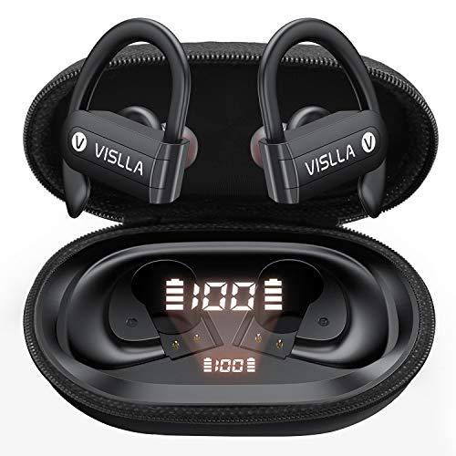 Vislla Bluetooth Headphones Sports Wireless Earbuds TWS BT5.0 Stereo Deep Bass Waterproof Earphones Noise Canceling…