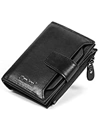 Senbos Mens Wallet Black Genuine Cowhide RFID Blocking Soft Leather Wallet for Valentine's Day, Father's Day
